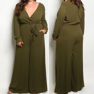 3 LEFT! PLUS SIZE OLIVE JUMPSUIT! SIZES 1X 2X & 3X